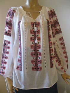 New Romanian Peasant Blouse Hand Embroidered Top Red Black Cross Stitch L XL | eBay