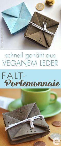 Mini-Portemonnaie für die Hosentasche aus veganem Leder nähen, super als schnelles Geschenk, auch für Kinder