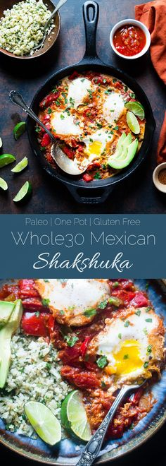 Whole30 Mexican Shakshuka - This quick and easy, gluten free Shakshuka recipe has a little, spicy Mexican twist! It's a lower carb, healthy and paleo friendly dinner or breakfast!   Foodfaithfitness.com   @FoodFaithFit