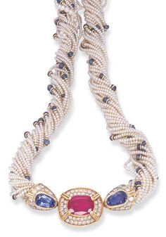 Seed Pearl, Ruby, Sapphire and Diamond Necklace, Bulgari