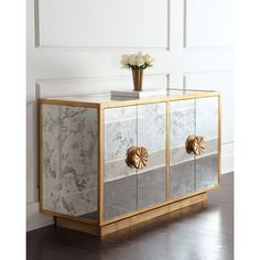 Erin Mirrored Sideboard (15.195 RON) ❤ liked on Polyvore featuring home, furniture, storage & shelves, sideboards, handmade furniture, antiqued mirror, mirrored furniture, handcrafted furniture and shelves furniture