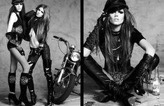 """BAD ANGEL"" NUMERO #85 | AUGUST 2007 by Greg Kadel Studios. PUBLICATION: Numero. MODEL: Caroline Trentini, Masha Novoselova, Georgia Frost. HAIR STYLIST: Diego Da Silva. MAKEUP ARTIST: Makky. STYLIST: Bill Mullen. Lady Biker, Biker Girl, Rock Chic, Rock Style, Goth Beauty, Fashion Beauty, Greg Kadel, Caroline Trentini, Glam Photoshoot"