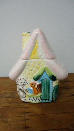 Vintage 40s 50s Cookie Jar House w Dog & Squirrel Lefton Enesco. $65.00, via Etsy.