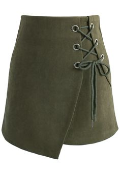 Lace-up Charisma Flap Skirt in Army Green - New Arrivals - Retro, Indie and Unique Fashion Lace Up Skirt, Blouse And Skirt, Golf Skirts, Cute Skirts, High Skirts, Going Out Skirts, Chicwish Skirt, Olive Green Skirt, Embellished Skirt
