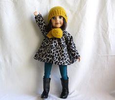 Habits de poupée : Imperméable panthère en toile enduite pour poupée Journey girls  45 cm