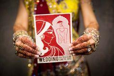 Vintage Indian Modern Wedding Invitation by oliveandviolet.com