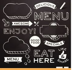 Chalkboard Restaurant Menu Elements Vector Art 174244112