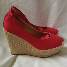 "Delicious tie wedge Delicious tie wedge.red color,worn once!fabric upper.size 7.5in a good condition.5"" high heels. Delicious Shoes Wedges"