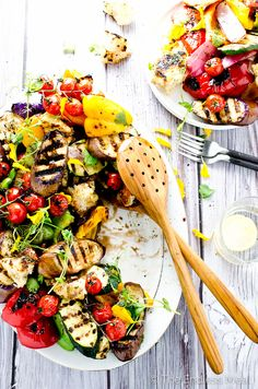 Grilled Vegetable Salad with Charred Croutons - A delicious and easy to make side dish.