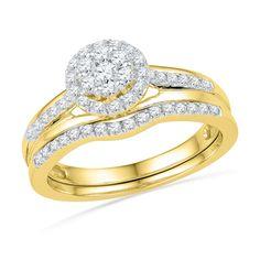 1/2 CT. T.W. Diamond Cluster Frame Bridal Set in 10K Gold