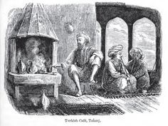 "Illustration of a Turkish cafe in Tešanj, Bosnia by Sir Arthur Evans from ""Through Bosnia and the Herzegovina on Foot During the Insurrection, August and September 1875."""