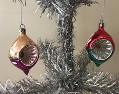Vintage Poland Ornaments Large Light Reflector Mercury Glass Ornament Atomic Indent Teardrop Icicle Feather Christmas Ornaments 2