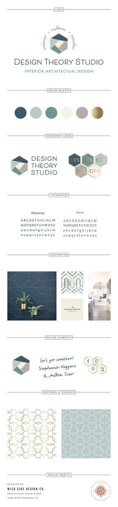 Design Theory Studio Brand Board - Modern Luxury Geometric Architecture Brand Design - Hexagon, Bronze, Interior Design, Art Deco www.wildsidedesign.co