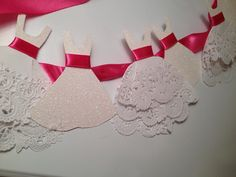 Wedding Garland with Ruffles/ Lace white pink bridal shower .