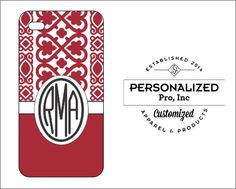 Maroon Heart Lace Design w/Monogram by PersonalizedPro