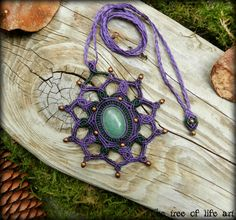 Magical macrame pendant with Aventurine stone & copper beads/Mandala macrame/Festival jewelry/Elven necklace/Fairy necklace/Micromacrame
