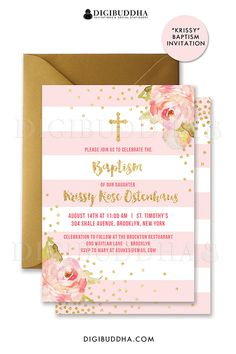 Pink & gold striped baptism invitations with boho chic pink watercolor peonies and gold glitter confetti dots. Choose from ready made printed invitations with envelopes or printable christening invitations. Rose shimmer envelopes also available. digibuddha.com