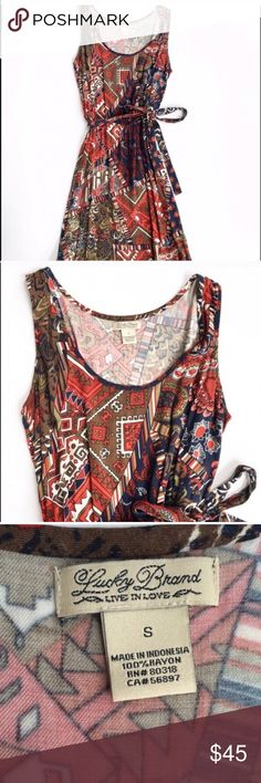 Lucky Brand printed dress Lightweight jersey dress from Lucky Brand, size small. Features vibrant tribal print and tie for waistline. Like new condition! Flat measurements are bust: 17, waist: 13.5, hips: 19, and length: 36 inches. Lucky Brand Dresses Mini