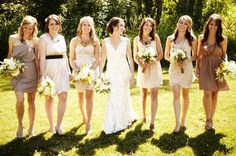 love this idea that this page suggests...give bridesmaids a paint chip with a spectrum of colors to pick their dress from!