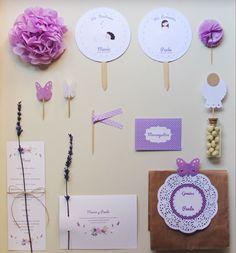creatura: Mesa dulce para una Comunión y Bautizo en blanco y lavanda.