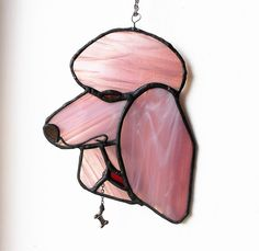 Stained Glass Poodle, window Suncatcher, dog lovers gift, pink dog sun catcher, Hanging glass gifts, glass art ornament, House warming, by BelleVerreBon on Etsy