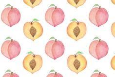 Peachy keen! #peaches #fruit #food #pattern #illustration #watercolour #art