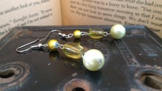 Yellow Crystal Beaded Earrings by MaleseDesigns on Etsy, $6.00