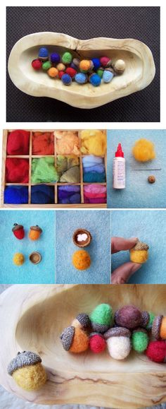 {Crafts for Kids: Needle Felted Acorns} An inspiring fall craft activity, needle felted acorns. I am already picturing a big bowl of these little lovelies on our coffee table!