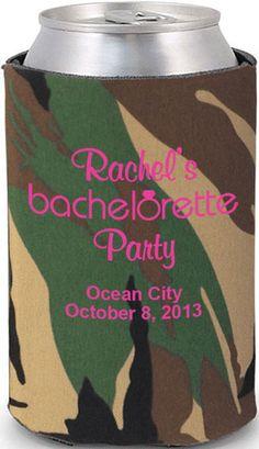 Destination Bachelorette party #bachelorette #koozies dont like the camo but the coozie idea is cute