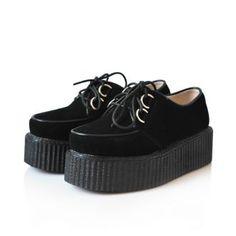 Leather Platform Creepers Black - Sheinside.com