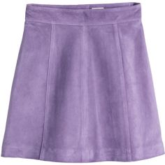 H&M Suede skirt ($57) ❤ liked on Polyvore featuring skirts, mini skirts, bottoms, purple, h&m, purple skater skirt, flared skirt, skater skirt and zipper mini skirt