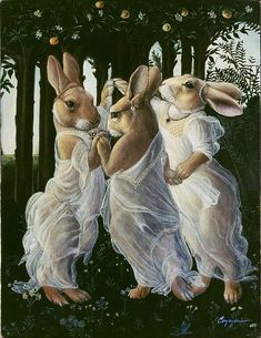 """Bunny Graces"": Old master pet paintings by Melinda Cooper."