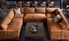 Like this Maxwell sectional (but in a different leather) | Restoration Hardware