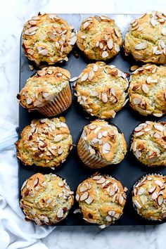 This easy lemon poppy seed muffin recipe gets a healthy boost with almonds and yogurt to make a moist muffin everyone will declare the very best. Easy Delicious Recipes, Easy Dinner Recipes, Easy Meals, Yummy Food, Tasty, Weeknight Recipes, Breakfast Time, Breakfast Recipes, Dessert Recipes