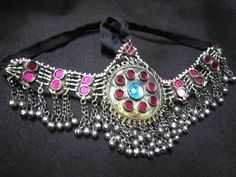 Afghan Jewelry Nice Head Dress Made Of German Silver And Red Color Gemstones Nomad Style
