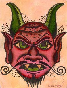 Devils Beard by Chris Smith Mexican Diablo Tattoo Canvas Art Print