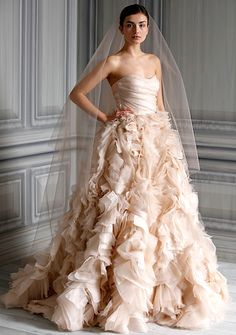 Who said wedding gown must be in white color scheme?? Love this pastel color wedding gown.