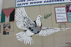 Ready to Hang Banksy Graffiti Canvas Street Art Prints by Street Art Banksy, Banksy Graffiti, Bansky, Banksy Palestine, Peace Pigeon, Banksy Canvas Prints, Street Art London, Peace Dove, Israel Travel
