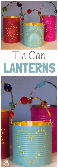 TIN CAN LANTERNS are beautiful homemade gifts kids can make. These DIY luminaries are easy to make and look stunning.