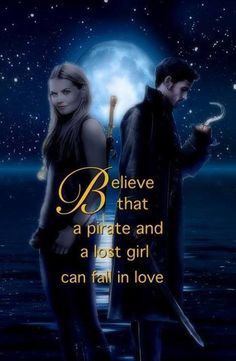 """Captain Swan. Jennifer Morrison as Emma Swan and Colin O'Donnoghue as Captain Hook from the TV Show """"Once Upon A Time""""."""