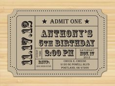 Carnival Birthday // ticket // Birthday Party // Circus // 1st // 2nd // 3rd // 4th // 5th //  Birthday Party Invitations // Postcard. $15.00, via Etsy.