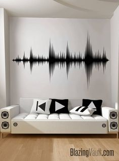 Audio Wave Wall Decal - Sound Wave Wall Sticker Recording Studio Music Producer Audio Speakers Video Music Room Decor Dance by Blazing Vault - Audio Waves Wall Decal – Speakers Sound Beats Music Production Recording Studio Music Headphones - Home Studio Musik, Music Studio Room, Home Studio Setup, Audio Studio, Sound Studio, Home Music Rooms, Music Bedroom, Music Inspired Bedroom, Dream Bedroom