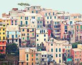 Cinque Terre Italy Photography - Fine Art Photography, Riomaggiore, photo, print, houses, whimsical, travel, windows, doors, colorful, art