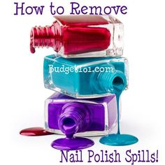 How to Remove Nail Polish from various Surfaces http://www.budget101.com/tips-tricks/how-clean-nail-polish-spills-4734.html