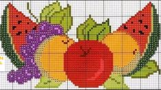 Fresh fruit X-stitch pattern Cross Stitch Fruit, Cross Stitch Kitchen, Cross Stitch Flowers, Cross Stitching, Cross Stitch Embroidery, Cross Stitch Designs, Cross Stitch Patterns, Diy Broderie, Free To Use Images