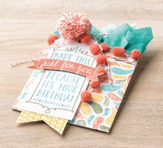 The new Calypso Coral Pom Pom trim is the perfect little accent for completing a birthday gift!