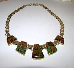 Native American Navajo Joe Piaso Jr Sterling Silver Boulder Turquoise Statement Necklace 70 gr
