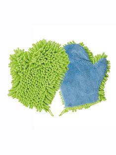 Luva para limpeza com 2 texturas diferentes. Em microfibra 80% poliéster, 20% poliamida. Dim. aprox.: 23 x 20 x 2 cm. Lavar a 30º. - Venca - 015632