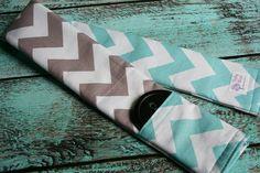 Reversible Camera Strap Cover with Lens Cap Pocket - Riley Blake Aqua and Gray Chevron - Designer Fabric- MADE TO ORDER via Etsy