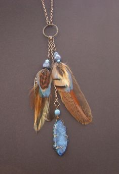 Real feather necklace copper feather pendant by FeathersnThingz